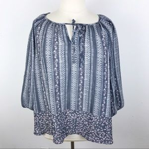 Lightweight Striped Peasant Blouse Blue Printed 2X